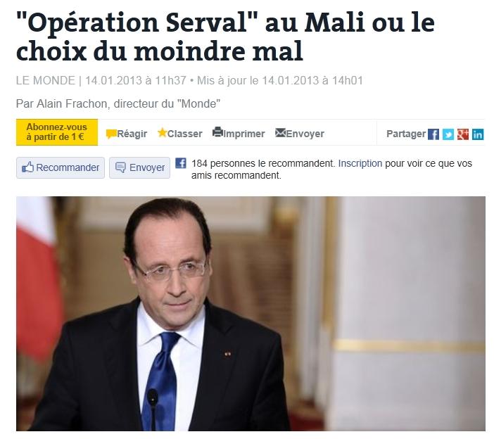 """""""프랑스의 말리 개입이 최소한의 악인 이유는?"""""""