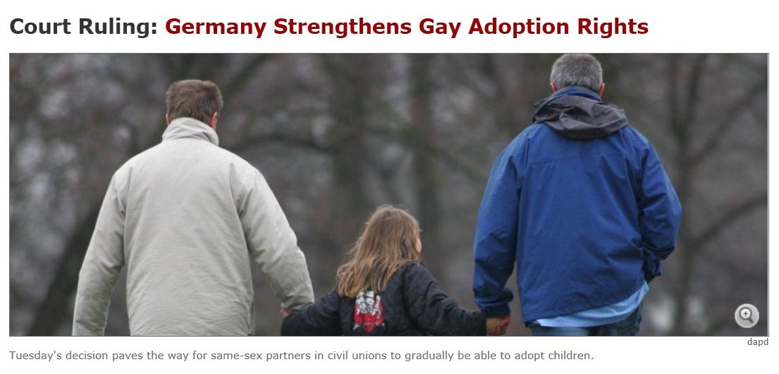 독일 헌재,동성부부의 입양권 인정