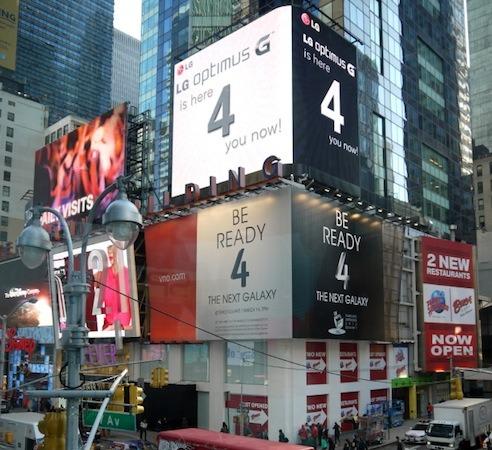 LG가 뉴욕에서 옵티머스G 광고로 삼성을 디스