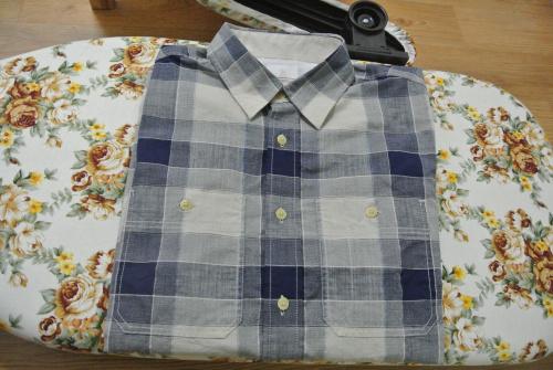 커스텀멜로우 파란색 체크 셔츠