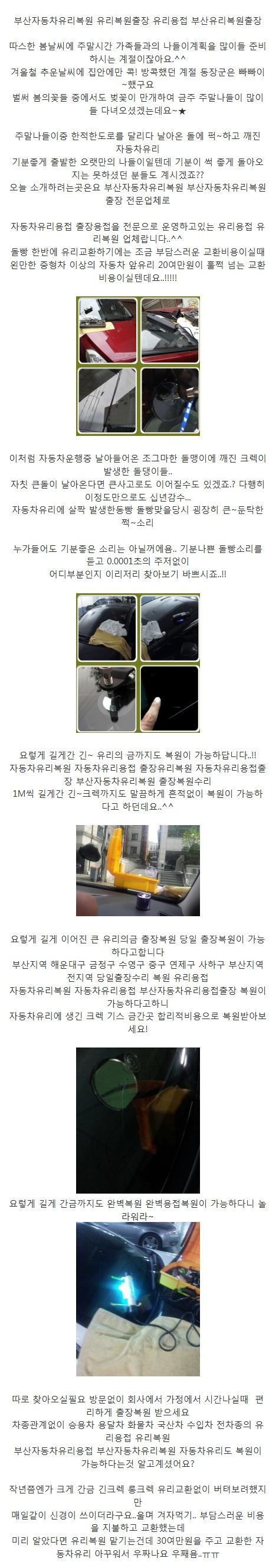 자동차 유리복원,용접, 출장(부산자동차)