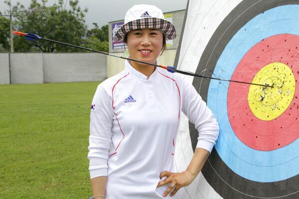 여자 양궁 70m 연습중 나온 기록.