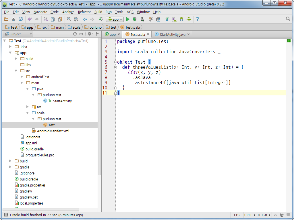 Android + Java + Scala (Android Studio)