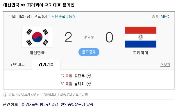 (2014.10.10) 대한민국 vs 파라과이 국가대표 평가..
