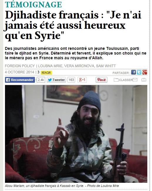 프랑스계 이슬람국가 테러분자와의 인터뷰...
