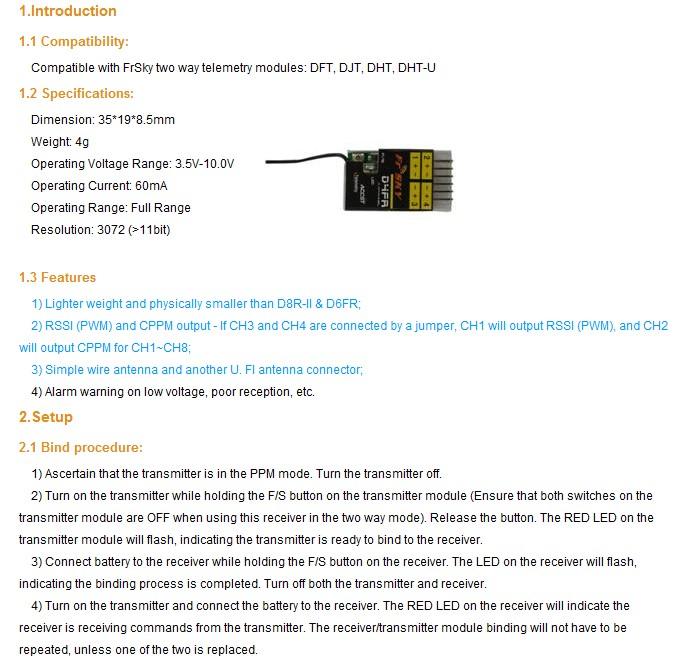 turnigy(DJT) D4FR 바인딩.