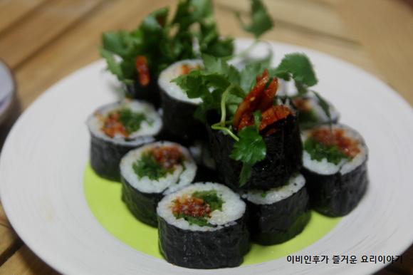 참나물 진미채 김밥, 김밥에서 봄의 맛과 향이 난다.