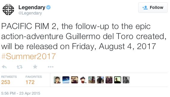 퍼시픽림 2, 2017년 8월 4일 개봉예정 발표