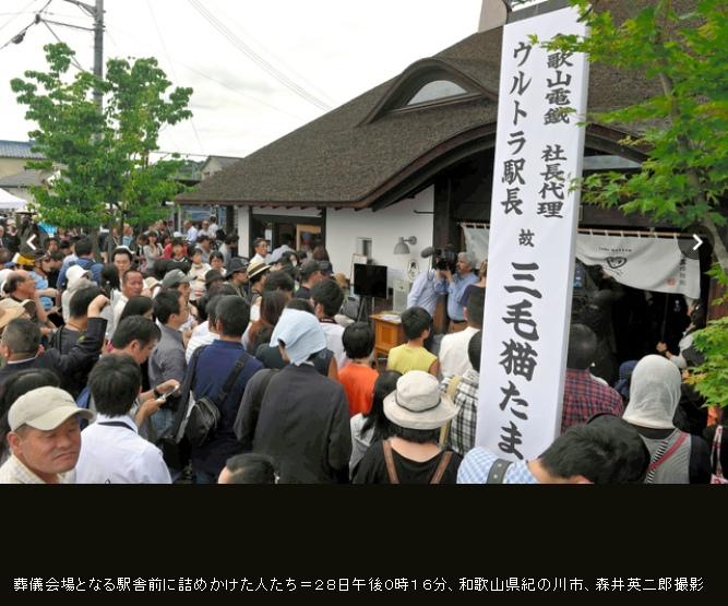 일본 '고양이 역장' 타마의 장례식에 3천명 운집