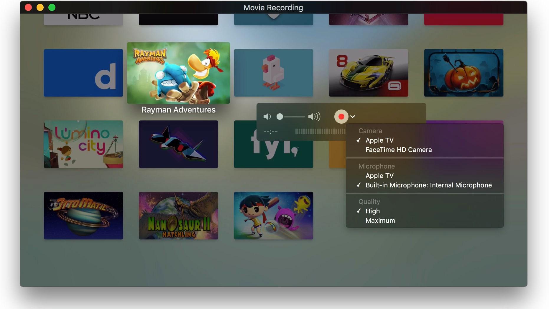 애플 TV 4세대를 맥에 연결하면 캡쳐 디바이스로 ..