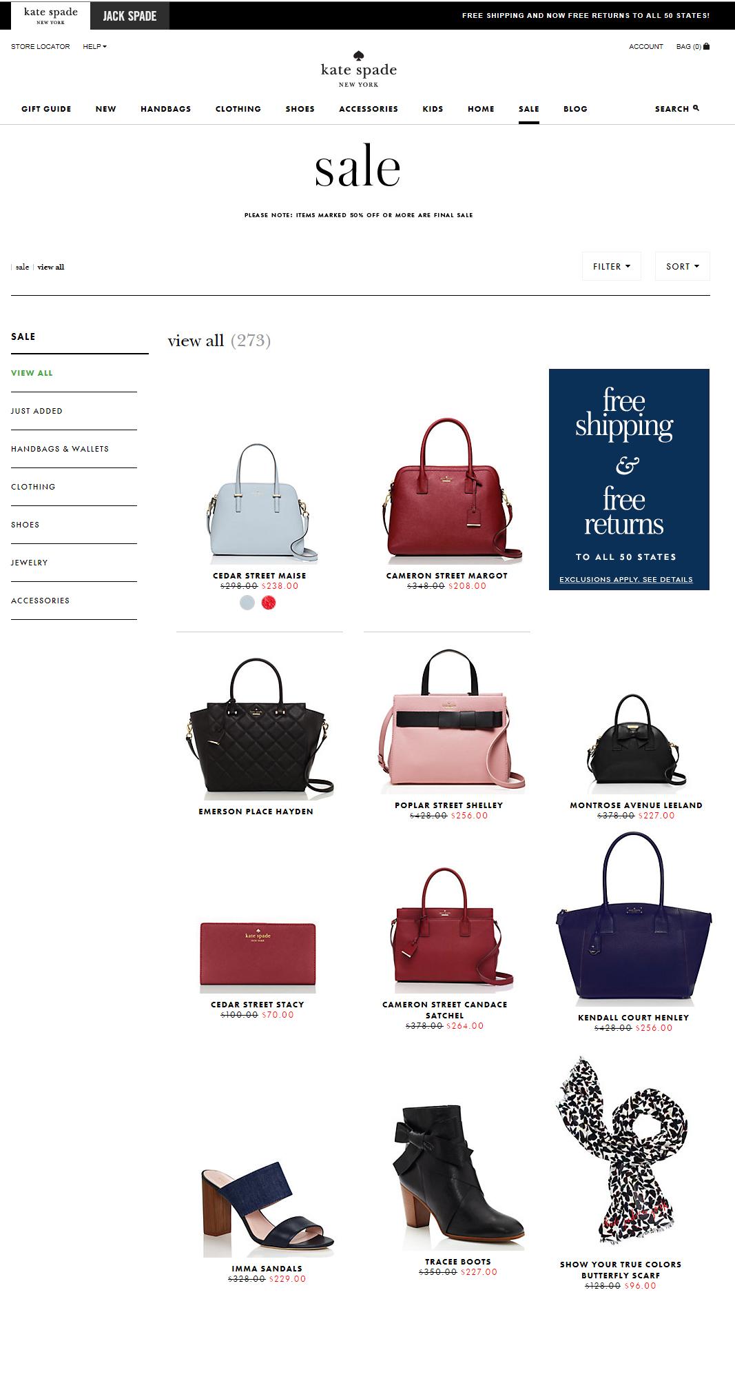 케이트 스페이드 뉴욕 세일 제품들 최대 50% 할인