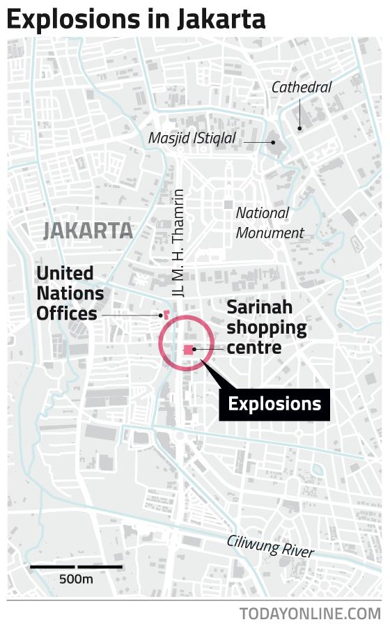 인도네시아 수도 자카르타 폭탄테러라는군요