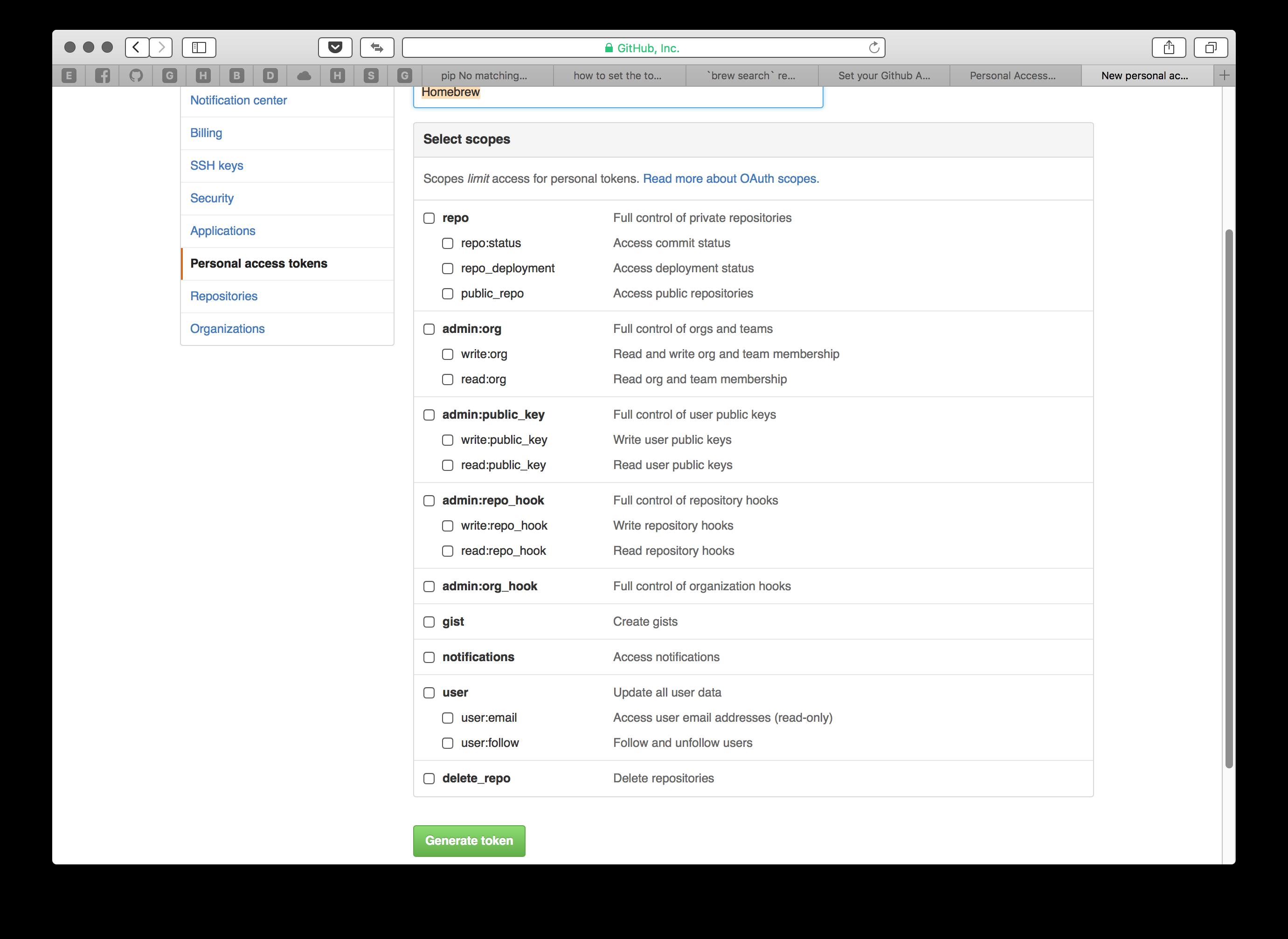 [OS X] homebrew 적용 시 GitHub API rate limi..