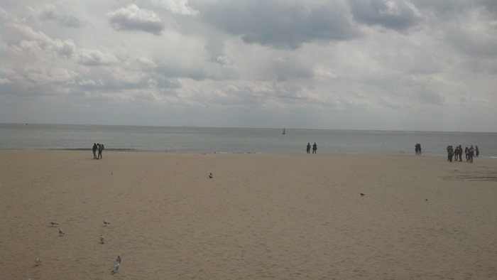 모래바람 날리는 해운대 바닷가 백사장