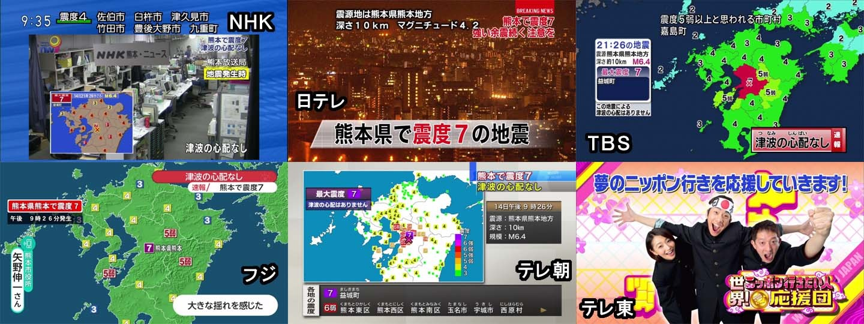테레토, 진도7의 지진에도 정규방송