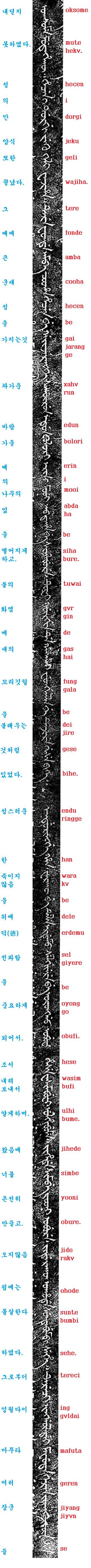 만주어 삼전도비 번역 및 쓰기 3부-조선왕 너 오지 ..
