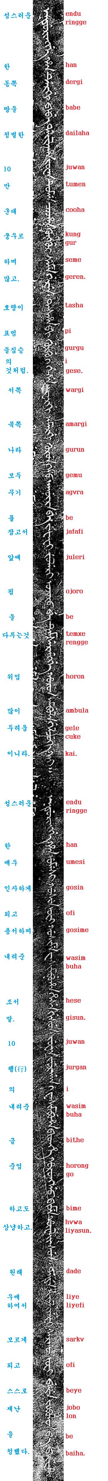 만주어 삼전도비 번역 및 쓰기 16부-우리가 우매하여 10..