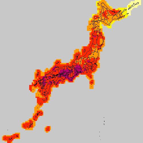 일본 열도 역시 엄청나게 무더운 모양이네요.