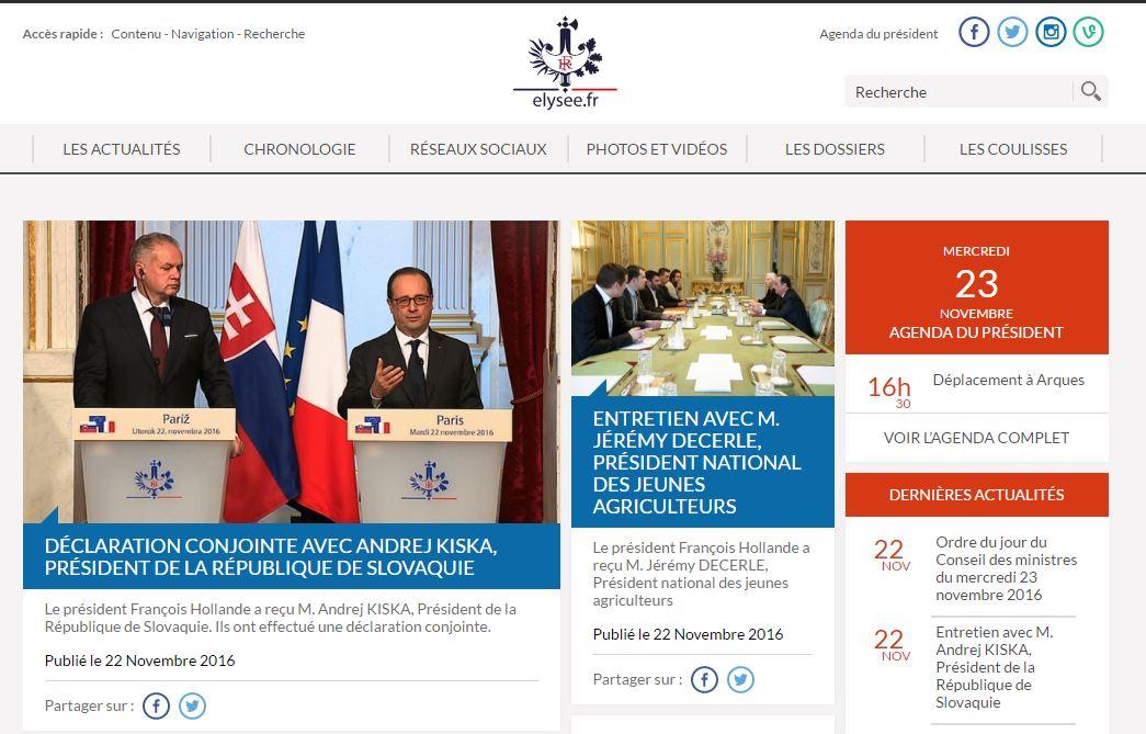 프랑스 엘리제궁은 대통령 일정을 공개한다.