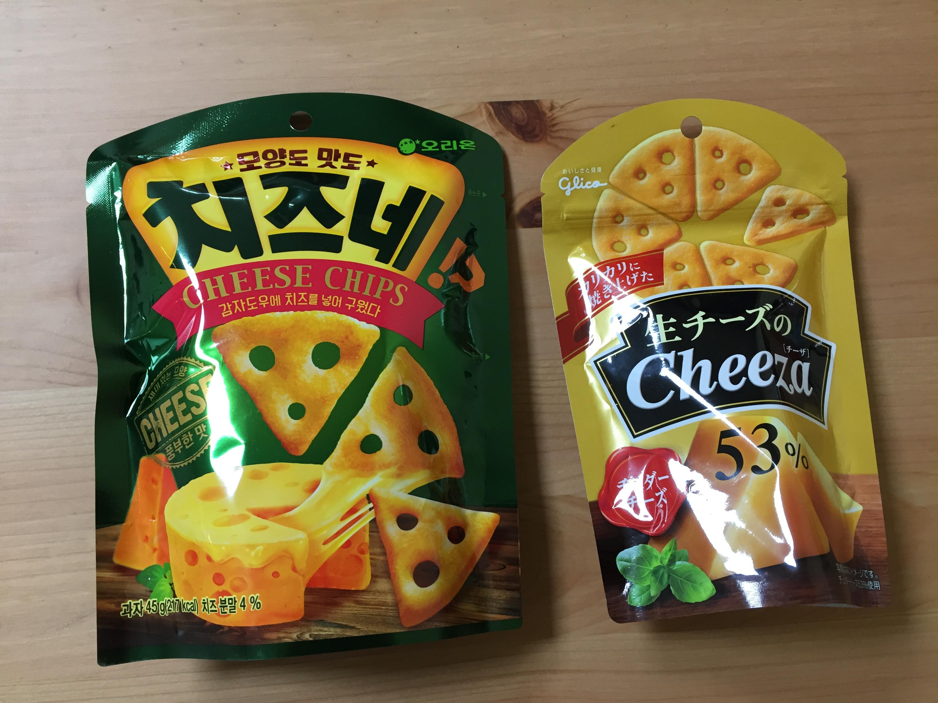 오리온/치즈네, glico/生チーズのCheeza 53% ..