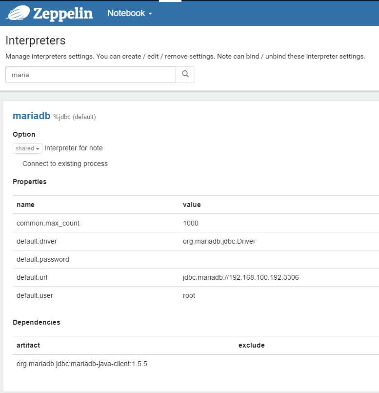 Zeppelin에 Mariadb 연결하기