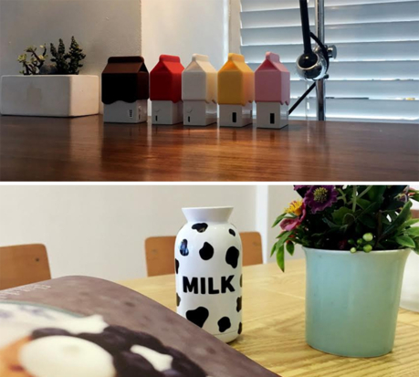 꽤 귀여운 보조 배터리, 코마 트레이드 우유병 우유..