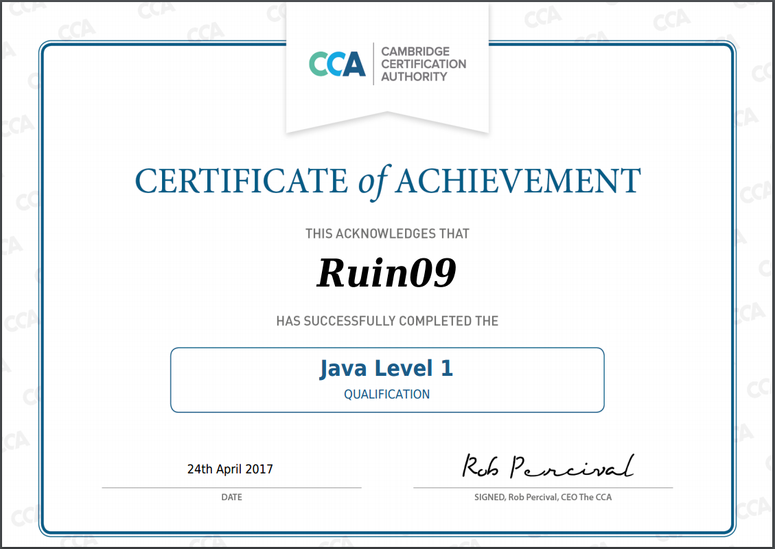 CCA Java Level 1 인증 획득