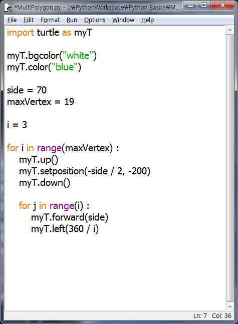 파이썬 터틀그래픽으로 그리는 다각형