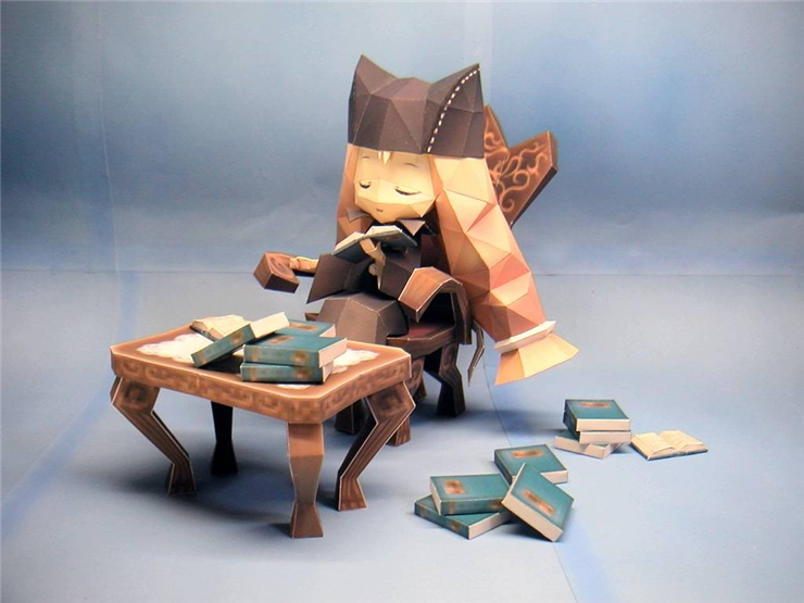 의자에 올라선 소녀 페이퍼크래프트 2종