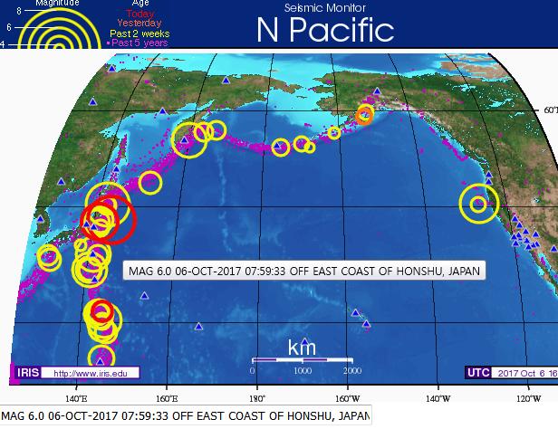 일본 후쿠시마 6.0 규모 지진 발생