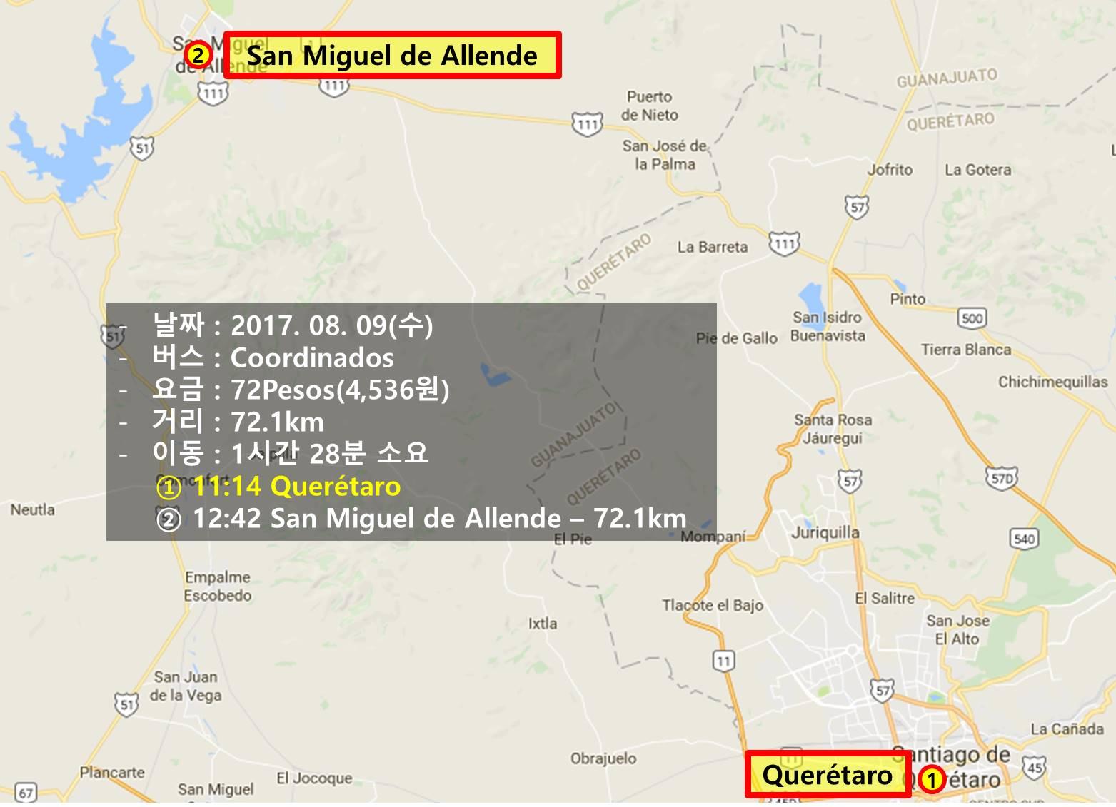 [멕시코] 께레따로에서 산 미겔 데 아옌데로