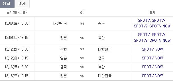2017 동아시안컵 축구대회 일정과 대진표