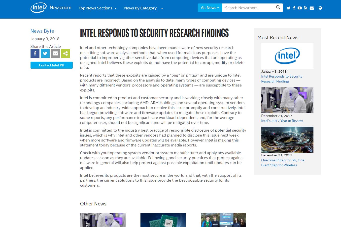 최근 터진 인텔의 보안 결함 이슈 관련 감상 소감