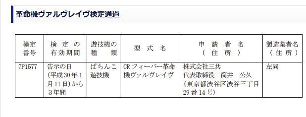 일본에서 '혁명기 발브레이브'의 파친코 기기가 새로..
