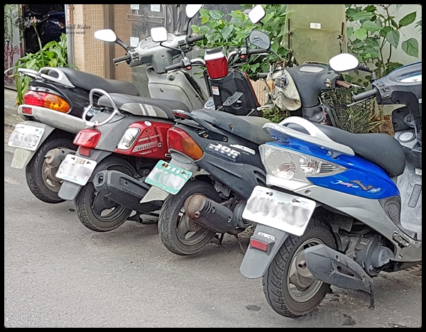 대만의 스쿠터와 오토바이 번호판 색깔로 체급 구..