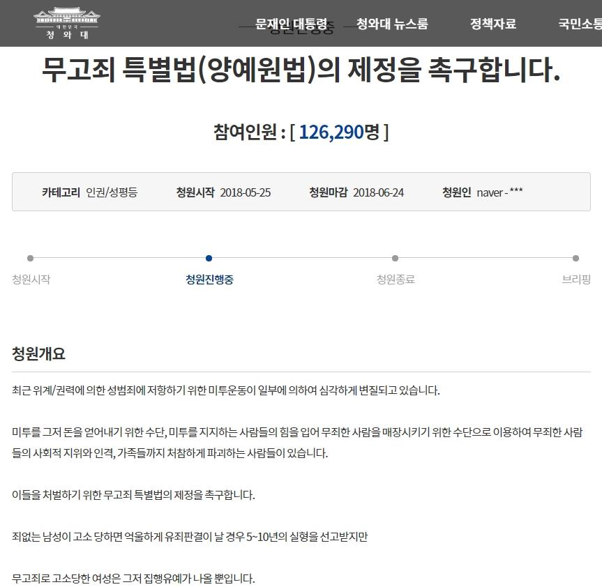 무고죄 특별법(양예원법) 청원 게시판 링크