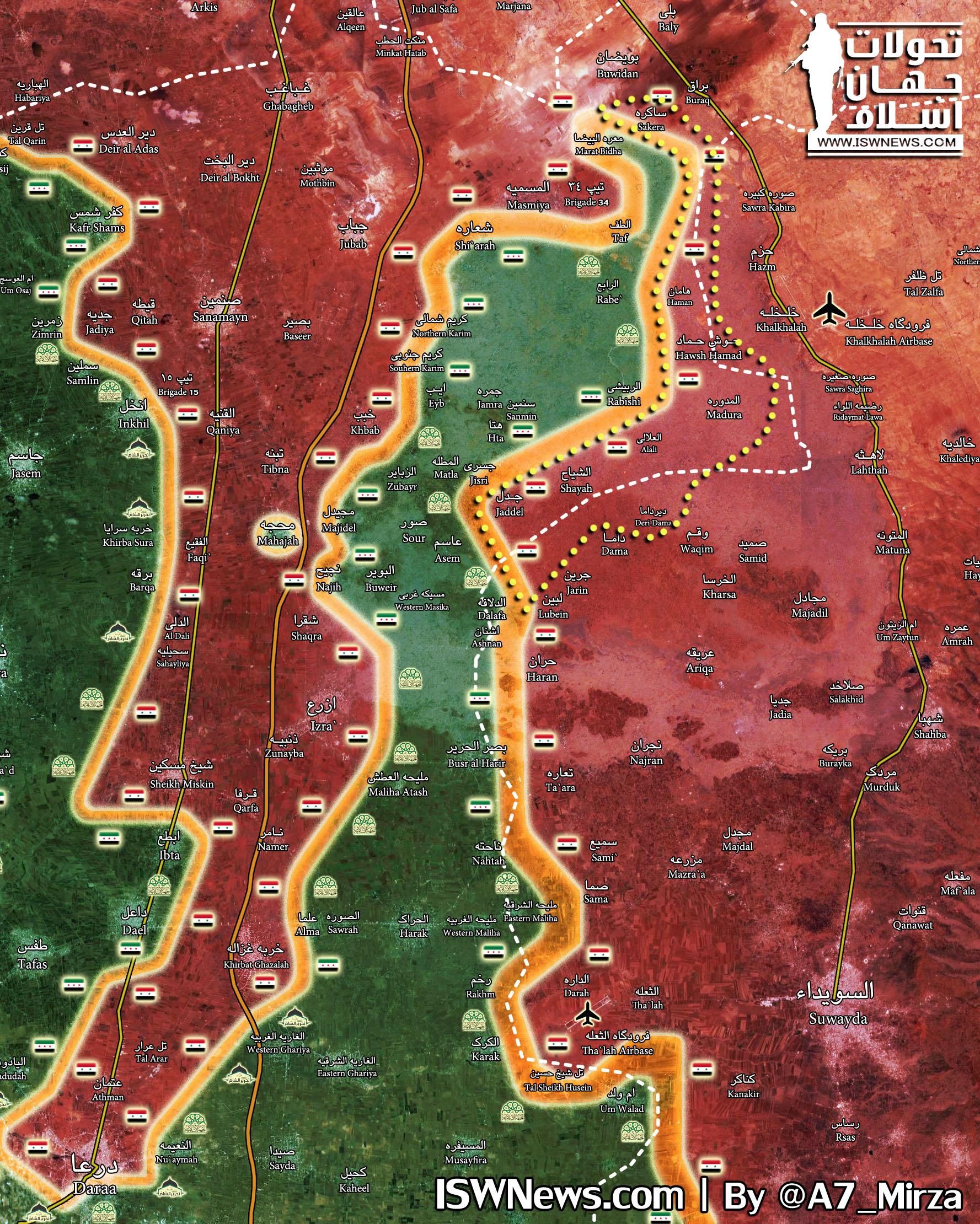 시리아 정부군 다라 총공세 1단계 완료 및 동부 사막 I..