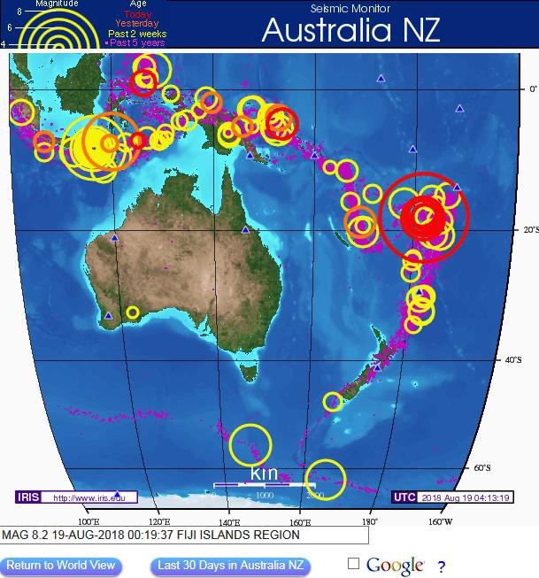 남태평양 피지섬 지역에 8.2 강진 발생