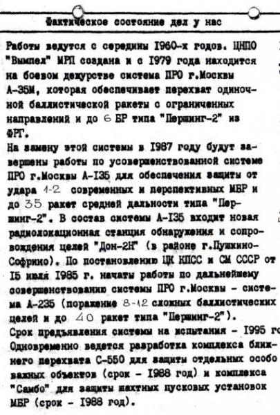 소련 ABM(MD) 시스템의 탄도탄 방어보장